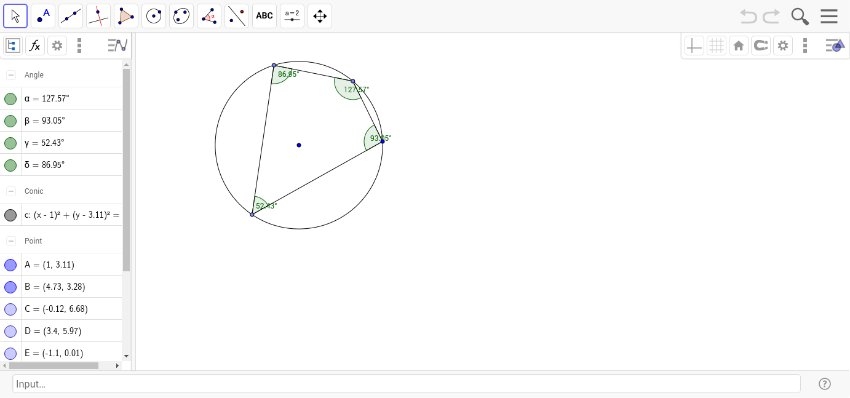 Workbooks worksheets on quadrilaterals and their properties : Properties of Cyclic Quadrilaterals - GeoGebra
