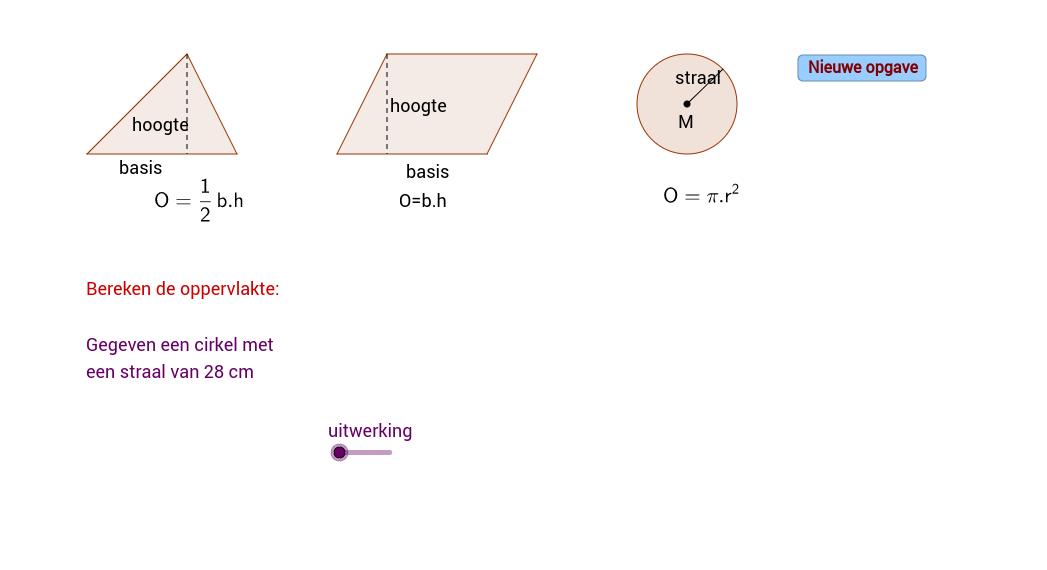 Oppervlakte driehoek, parrallellogram en cirkel