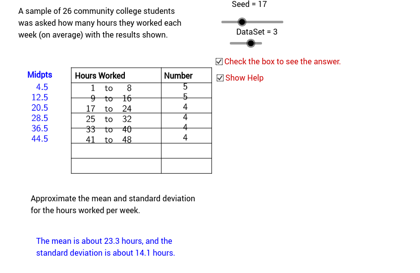 Mean and Standard Deviation of Grouped Data GeoGebra – Standard Deviation Worksheet