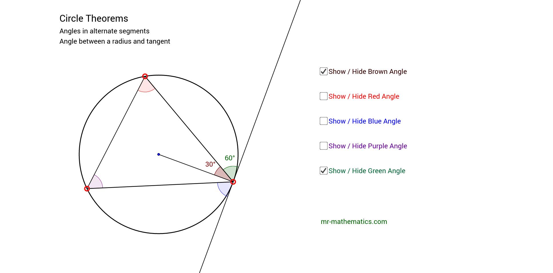 Circle Theorems Tangents Geogebra