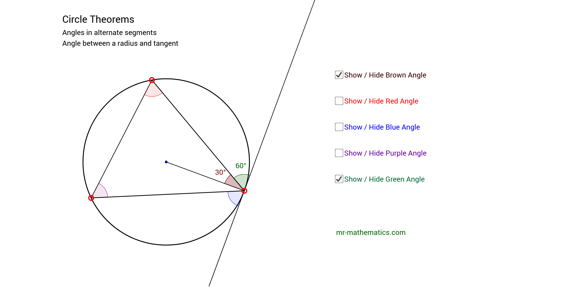 Circle Theorems - Tangents - GeoGebra