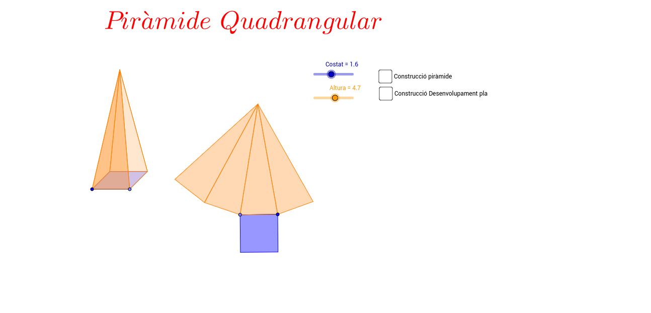 Piràmide quadrangular amb regle i compàs