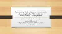Incorporating  Dynamic Assessments into Teachers' PD