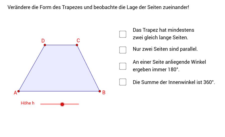 Trapez - Eigenschaften