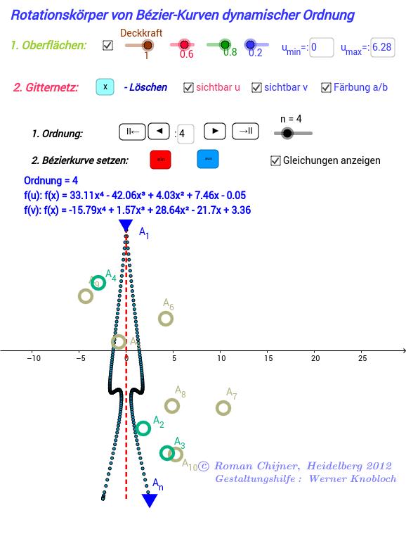 Rotationskörper von Bézier-Kurven dynamischer Ordnung-Java