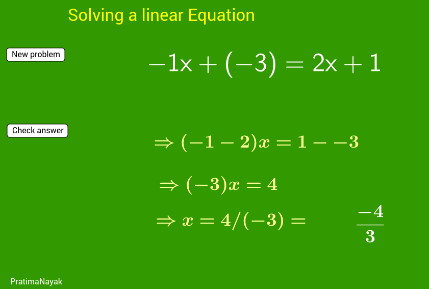 Practice material solution of linear equation