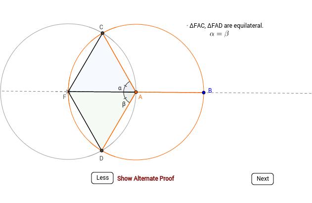 Divide a circle into three equal sectors.