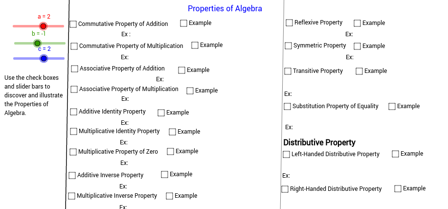 Properties of Algebra