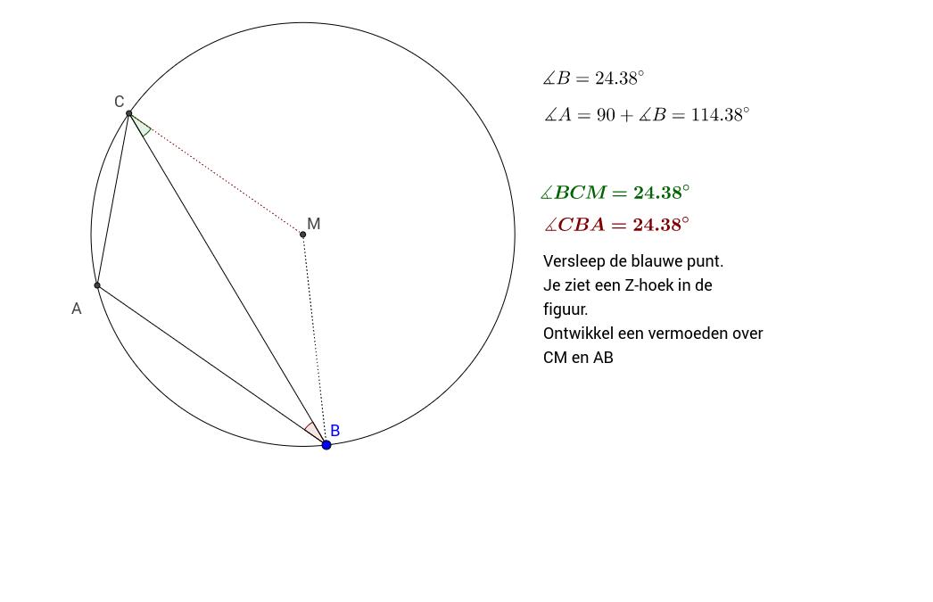 Vermoeden. Z-Hoek in cirkel omgeschreven driehoek