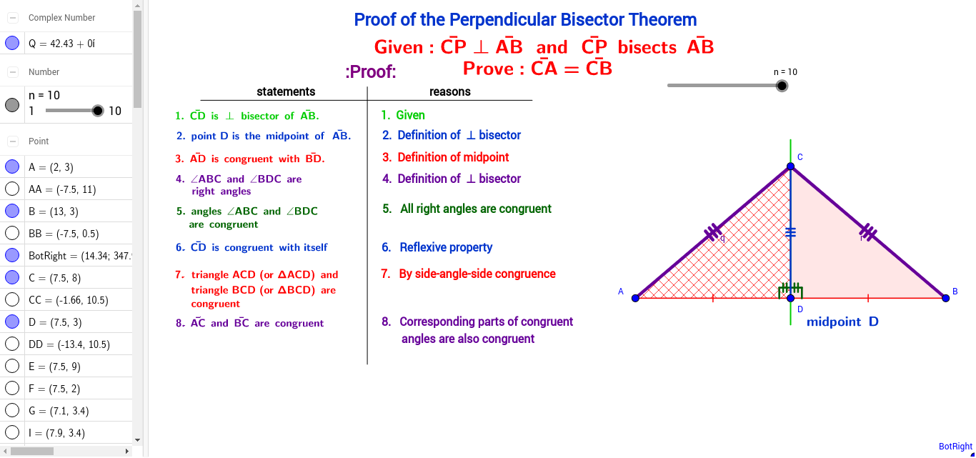 Worksheets Perpendicular Bisector Worksheet 2 column proof of perpendicular bisector theorem geogebra
