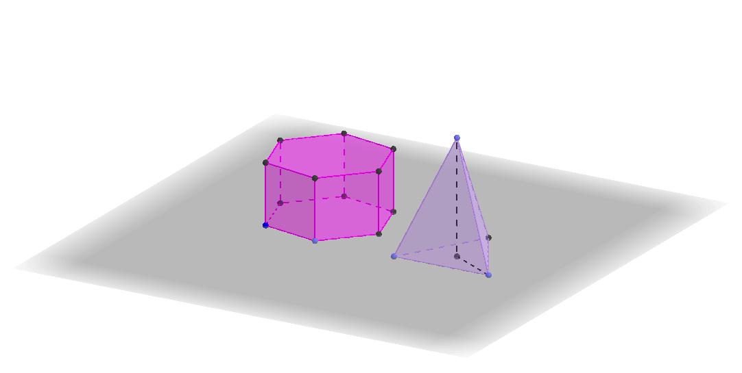 Правильная треугольная пирамида и шестиугольная призма