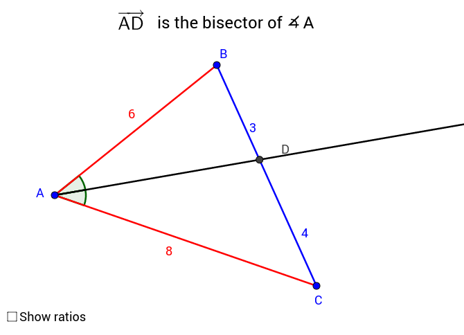 Proportional segments by the angle bisector of triangle