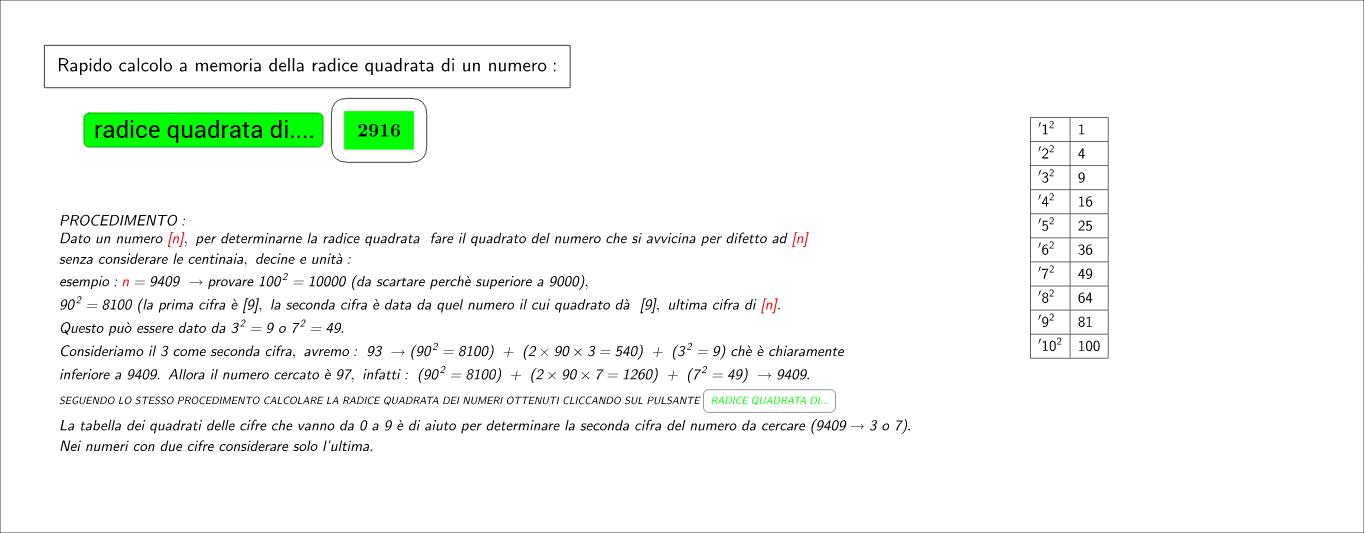 calcolo veloce della radice quadrata di n