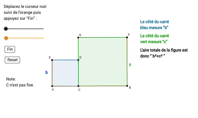 Démonstration du théorème de Pythagore par mouvement
