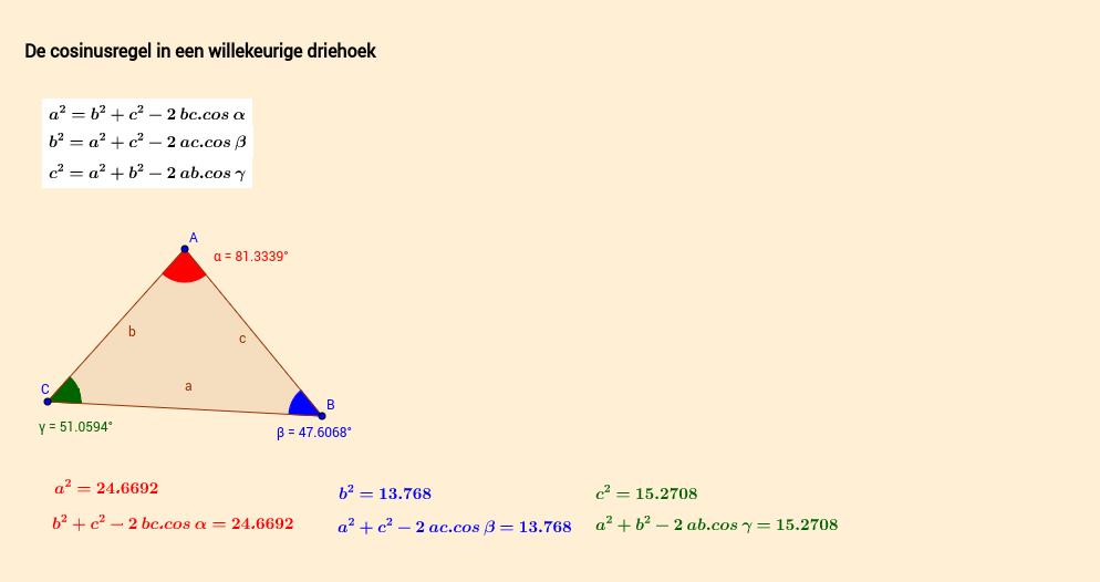De cosinusregel in een willekeurige driehoek