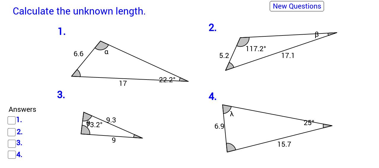Sine rule angle calculation