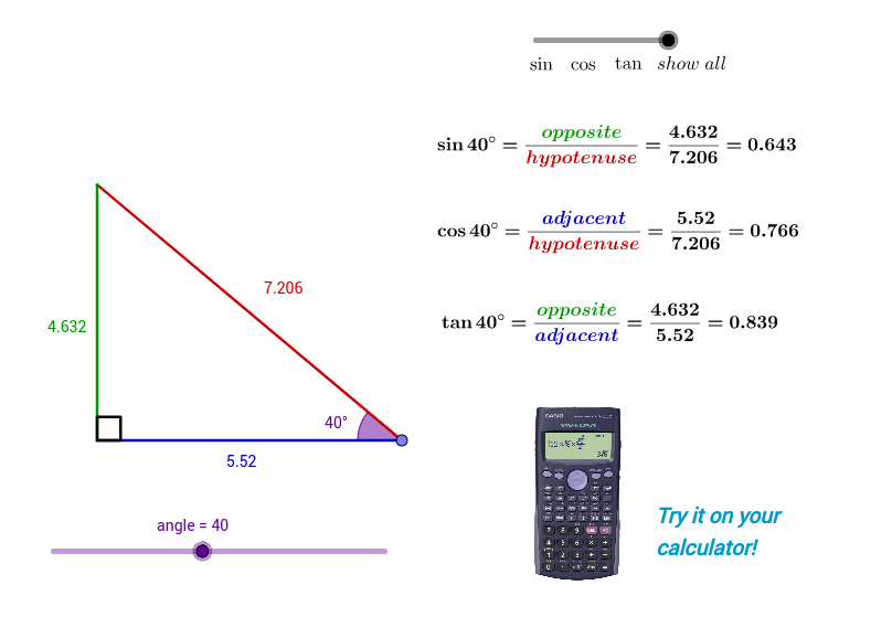 sin, cos and tan in a right angled triangle - GeoGebra