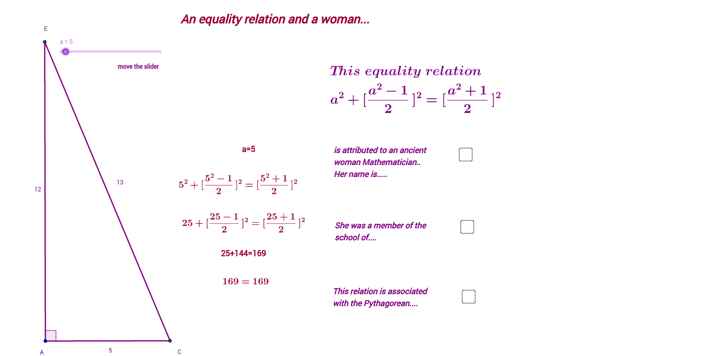 Quizz about an equality relation and a woman