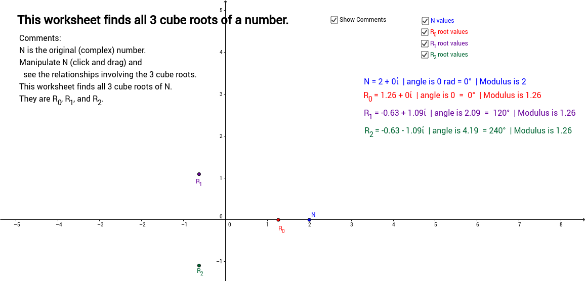 Cube Roots of a Complex Number GeoGebra – Cube Roots Worksheet