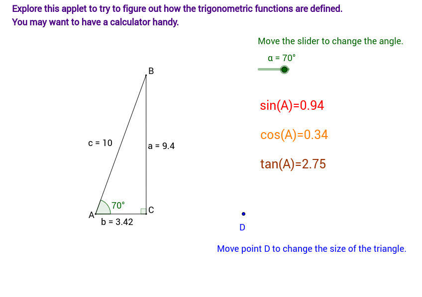 Discovering Sine Cosine and Tangent in Right Triangles GeoGebra – Right Triangle Trig Worksheet