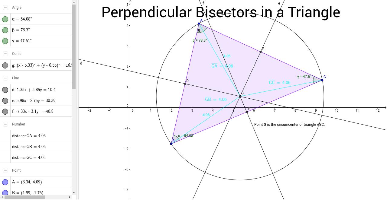 Perpendicular Bisectors of a Triangle GeoGebra – Angle Bisectors Worksheet