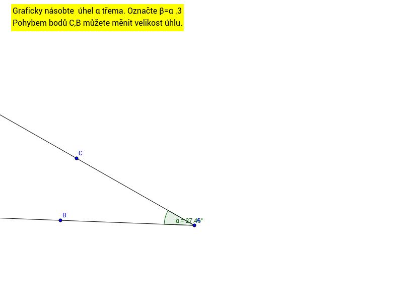 úkol - grafické násobení úhlu přirozeným číslem - geogebra