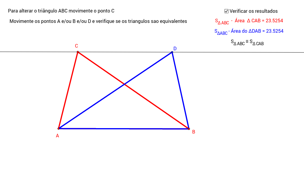 Propriedade do triângulo com base fixa.