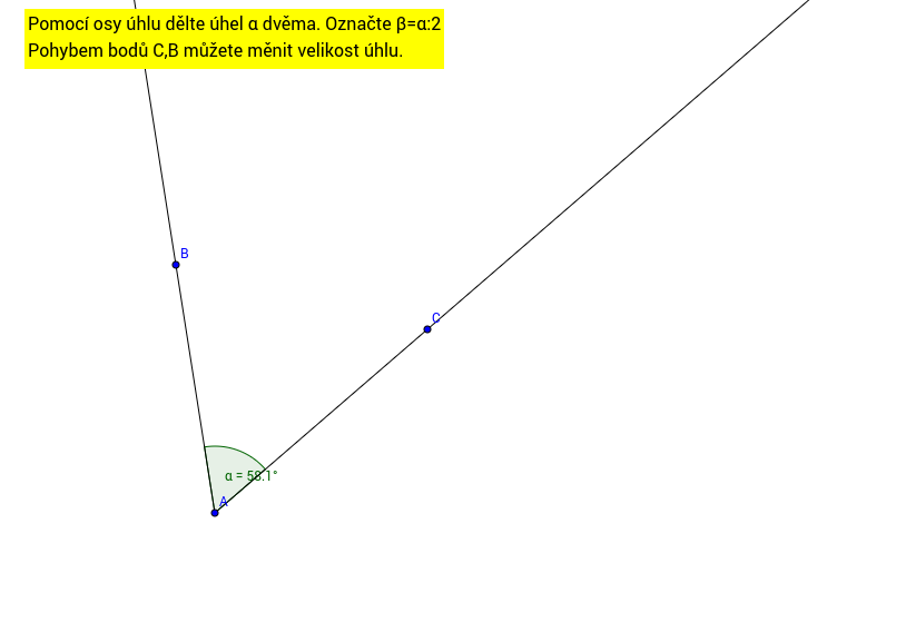 Grafické dělení úhlu dvěma.