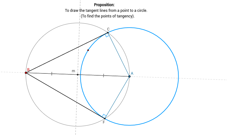 Tangents from point to circle