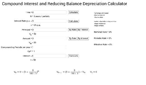 Compound Interest and Reducing Balance Calculator (VCE) - GeoGebra