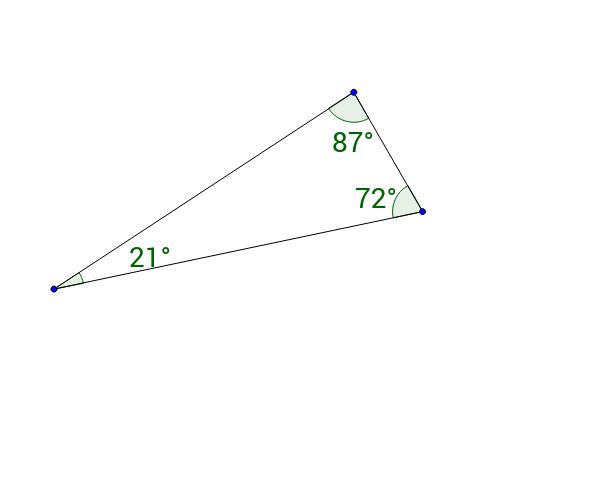 Bevis: Trekantens vinkelsum (tal) (Klik >> og forklar)