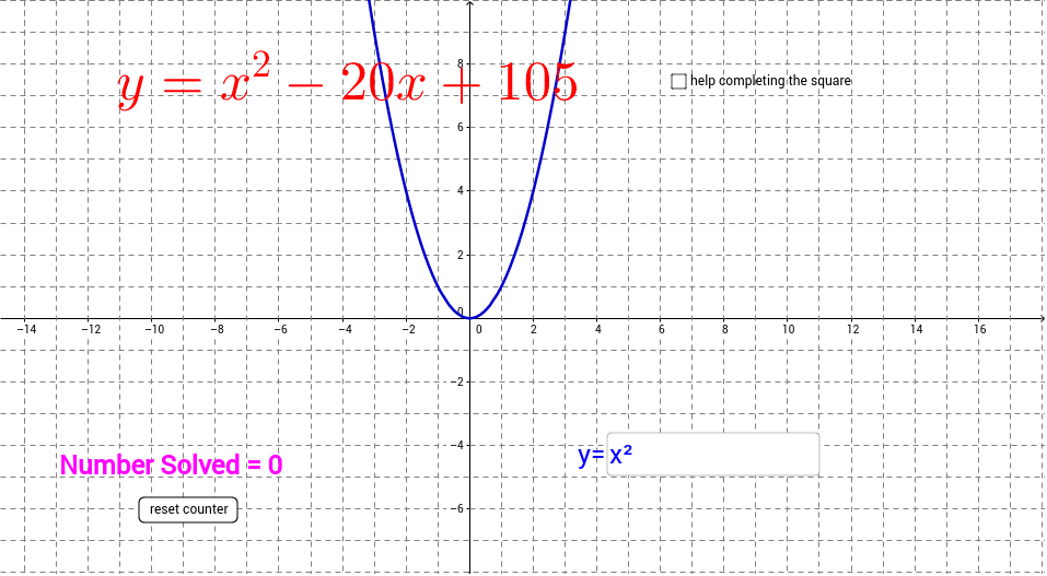 Quadratic Functions Converting Standard To Vertex Form Geogebra