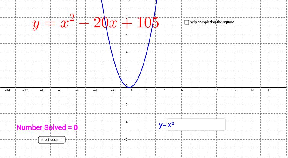 Quadratic Functions Converting Standard To Vertex Form Geogebra