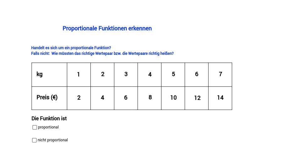 Proportionale Funktionen erkennen, Teil 5