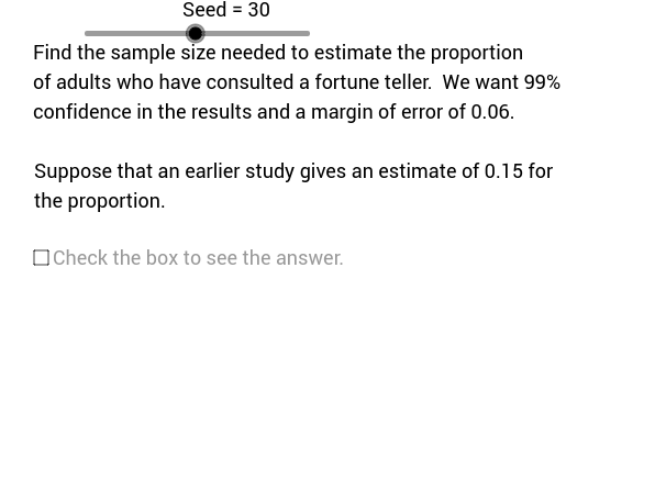 Sample Size for Population Proportion Problems