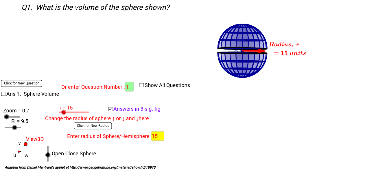 3D Sphere, Hemisphere Volume and Total Surface Areas