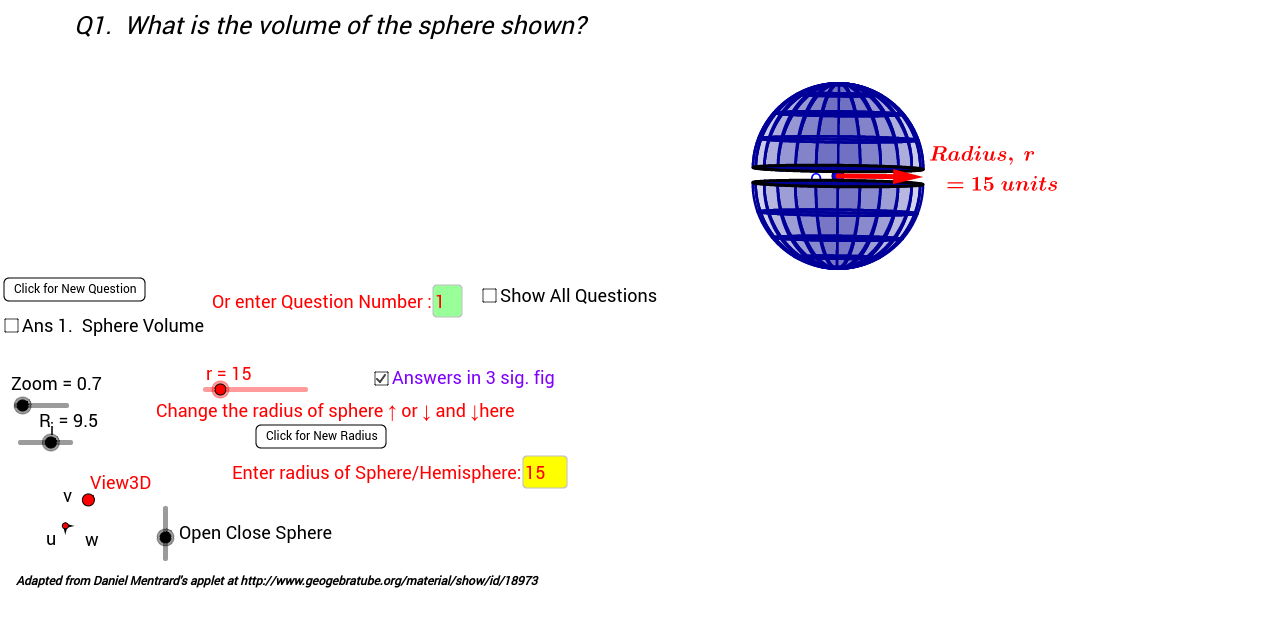 3D Sphere Hemisphere Volume and Total Surface Areas GeoGebra – Surface Area of a Sphere Worksheet