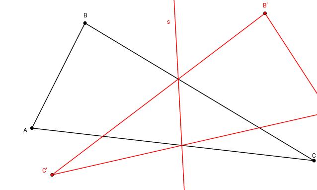 Achsenspiegelung: Konstruktion der Symmetrieachse