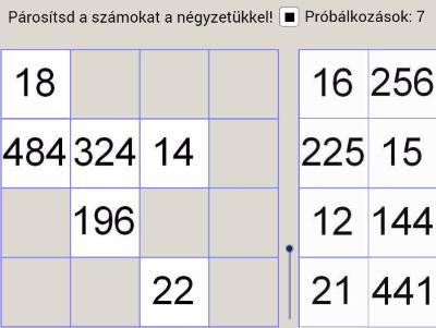 A szám négyzete és értéke - párosítós játék