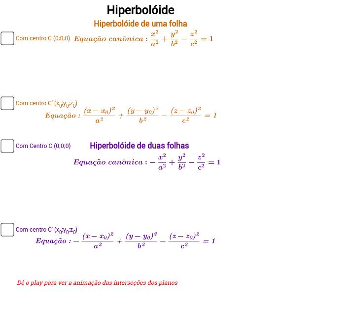 Hiperbóloide - uma e duas folhas