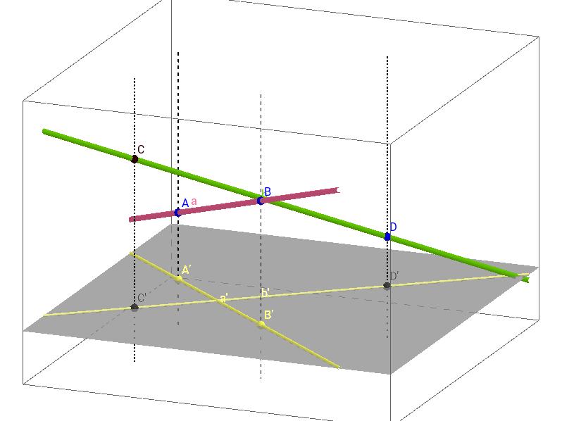 Ортогонална проекција на две прави во просторот