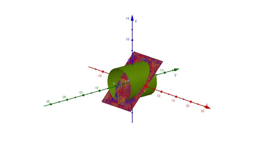cilindro tagliato da piano inclinato 45°