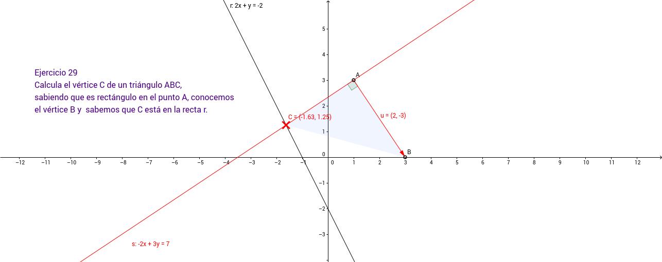 Ejercicio 29. Geometría en el plano
