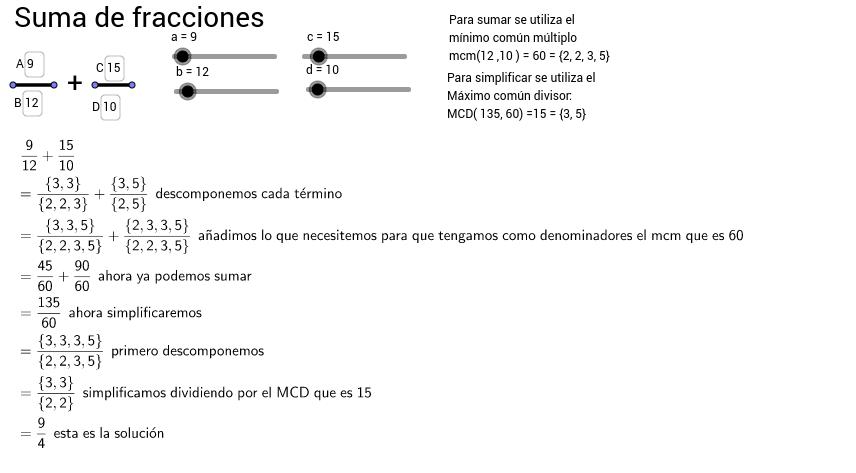 Suma de fracciones (operaciones paso a paso)