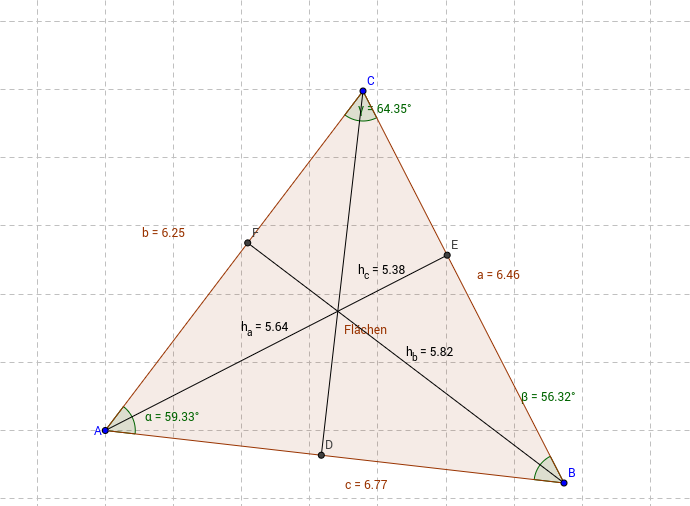 Allgemeines Dreieck mit Höhen