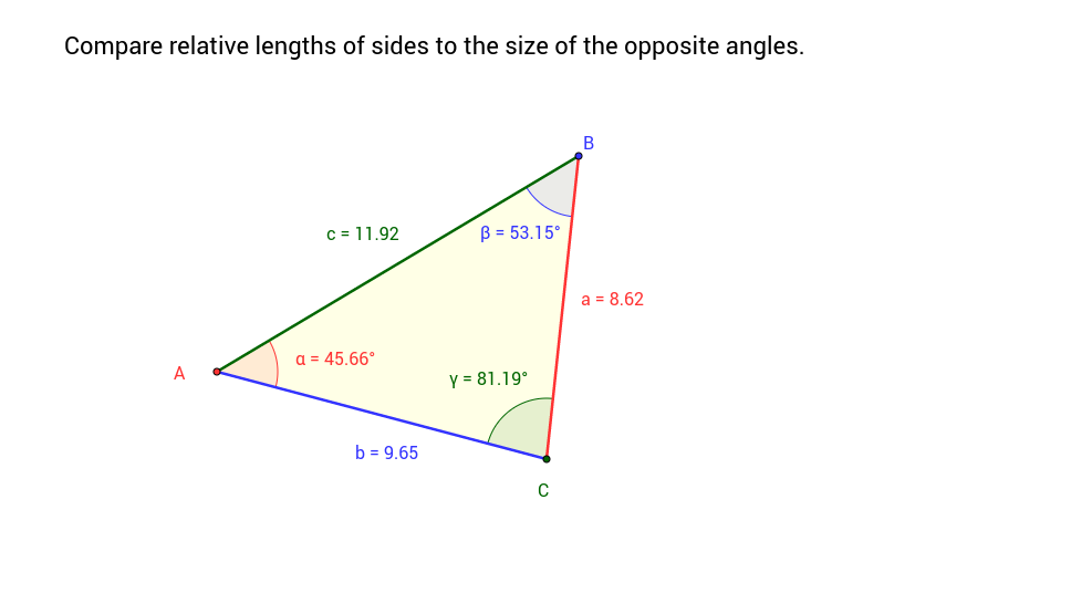 Copy of Inequalities in a Triangle - Relationship of Sides to Angles
