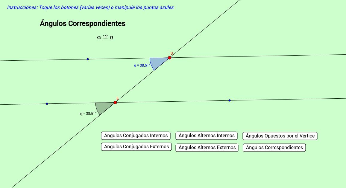 Ángulos entre rectas paralelas y una transversal