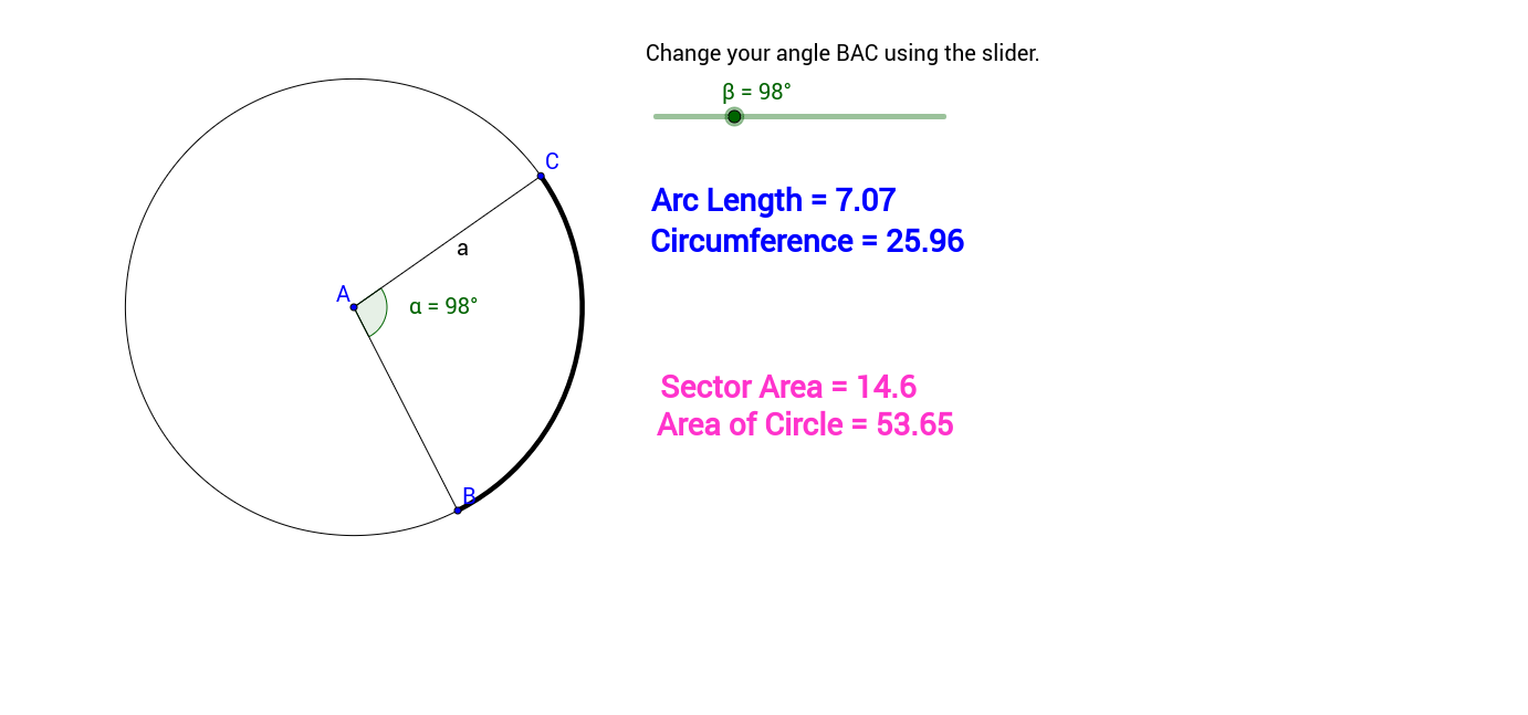 Worksheets Area Of A Sector Worksheet relationship between angle length of arc sector area geogebra applet