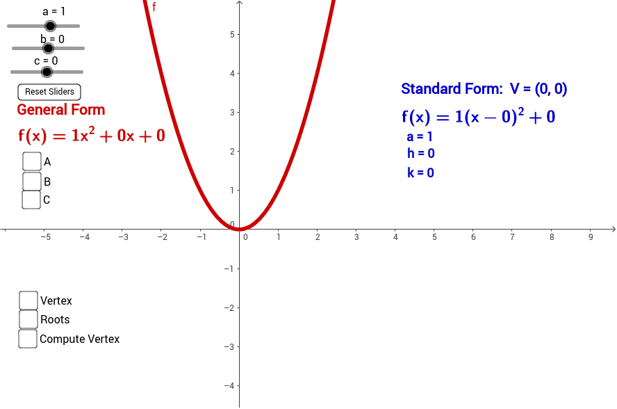 Quadratic Compare Standard To Vertex Forms Geogebra