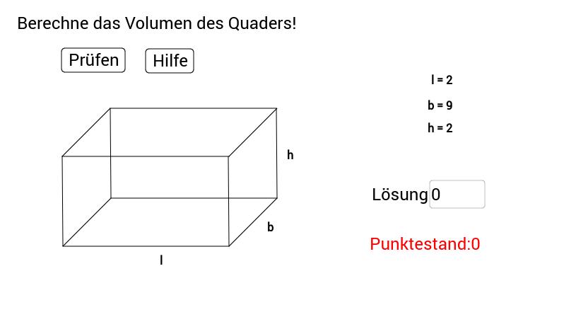 Volumenberechnung eines Quaders